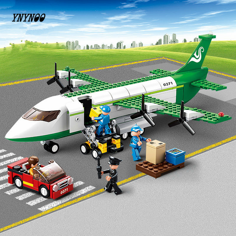 YNYNOO 0371 Sluban City Airport Airplane Building Blocks Toy Set Aircraft Model Bricks Toy City Planes Compatible with lepin