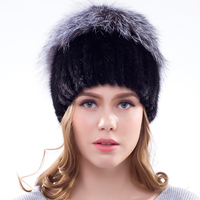 JKP new fashion winter real mink fur hat for women with Silver Fox Fur Animal Knitted Hats New Class For Women mink Fur cap 25