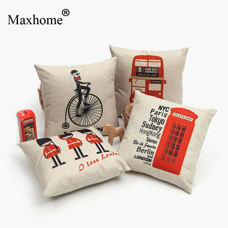 British Style Cartoon Art  Cotton Linen Pillowcase Luxury Sofa Cusions Decorative Pillow Home Decor Throw Pillow Almofadas 45*45