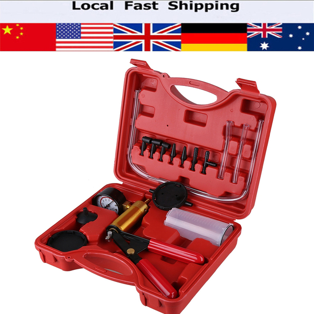 15Pcs/set Hand Held Brake Bleeder Tester Set Bleed Kit Vacuum Pump Car Motorbike Bleeding