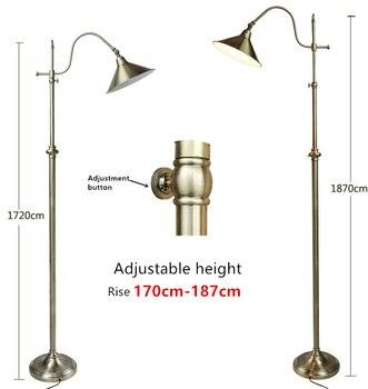 Нордическая Ретро лампа креативная медная Напольная Лампа Регулируемая Высота 172-187 см украшение креативный торшер