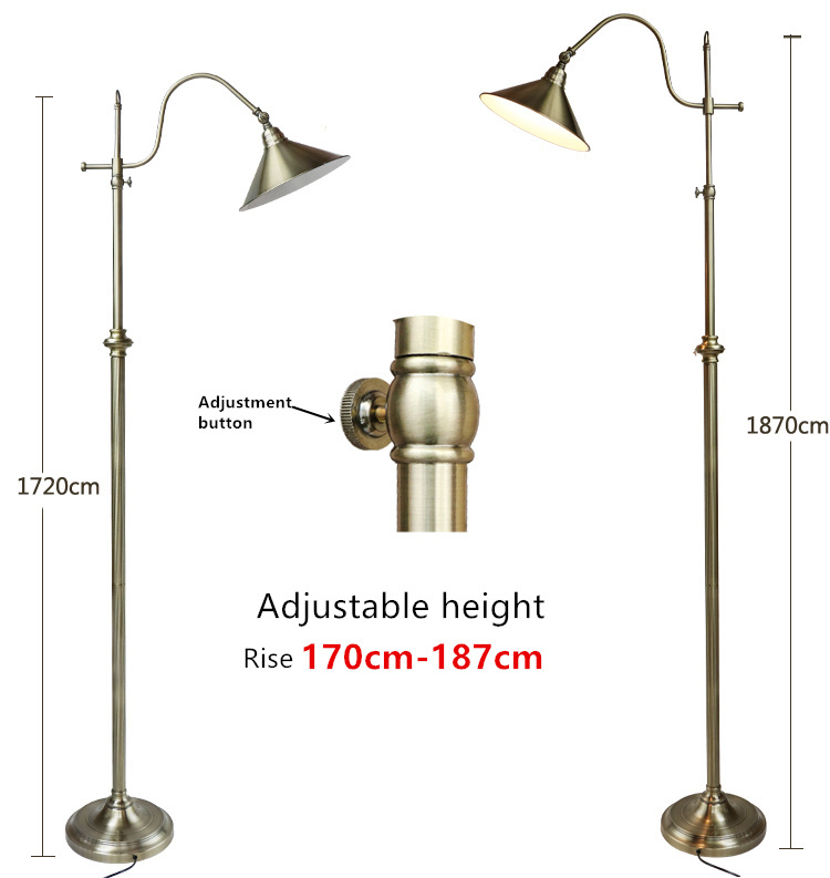 Lampe rétro nordique lampadaire créatif en cuivre hauteur réglable 172-187 cm décoration lampadaire créatif