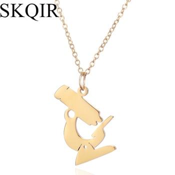 Collar de cadena de oro colgante para microscopio médico SKQIR, joyería de moda para mujeres, regalo de enfermera, collar de acero inoxidable para microscopio