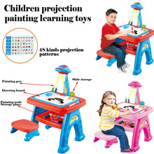 2017 New children enlightenment educational toys graffiti lighting projection painting  childhood education children learn toys