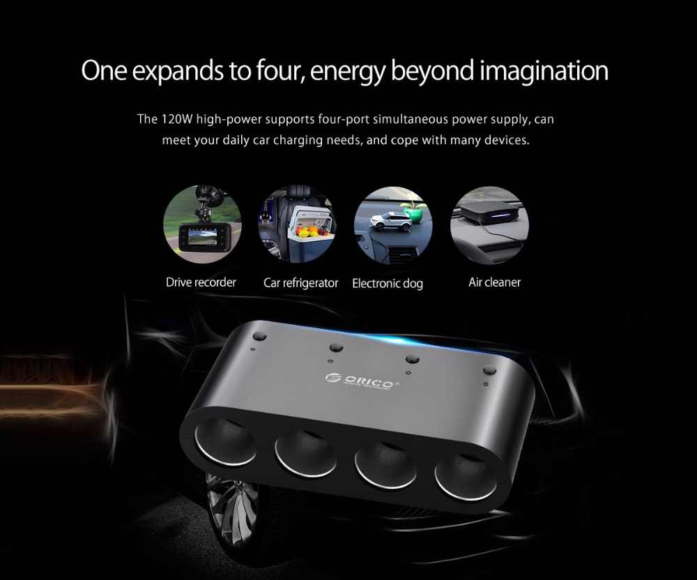 ORICO 2/3/4 Port  USB Car Charger Dual Port Adapter Smart Charger with Cigarette Lighter Socket For IPhone Samsung Galaxy Xiaomi