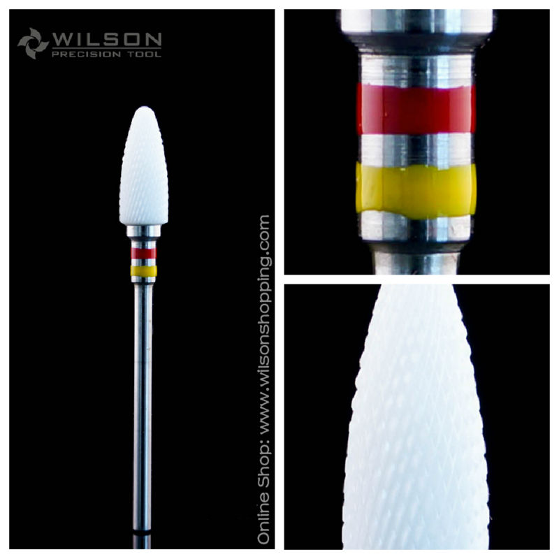 Bullet Shape - Double Fine - White Ceramic - (6400801) - WILSON Ceramic Nail Drill Bit & Zirconia Ceramic Dental Burs kyn a5t 5 zirconia ceramic knife w sheath yellow white