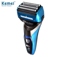 Kemei 3D Floating Four Blade Reciprocating Electric Shaver Rechargeable Bread Trimmer Waterproof Men Razor Shaving Machine LCD