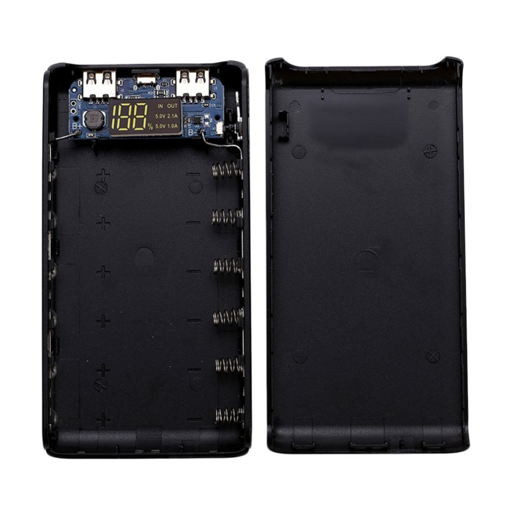 Free Welding 5V 2A LCD Screen Digital Display Power Bank Case Charger Module DIY Kits Powered By 6x 18650 Battery Powerbank Case in Power Bank from Cellphones Telecommunications