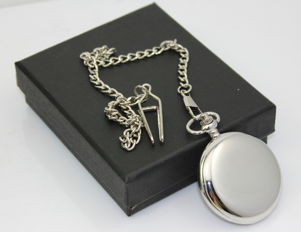 500pcs high quality slive plate Dia 4 5cm Plain Chrome Pocket Watch