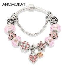 Romantic Pink Crystal Flower Silver Charm Pan Bracelet & Bangle Diy Heart Bead Bracelets for Women Girl Fashion Jewelry Gift недорого