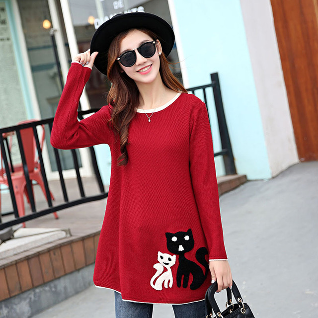 2016  New Autumn Fashion Women Leisure  The long Sleeve  Kitten Applique Loose  knit Sweater Lady  Winter Coat  hedging Sweater