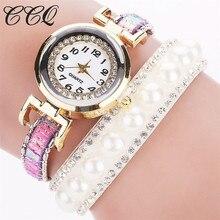 CCQ Luxurious Model Gold Pearl Jewellery Bracelet Watch Girls Trend Analog Quartz Watch Women Wristwatch Reward Relogio Feminino C70