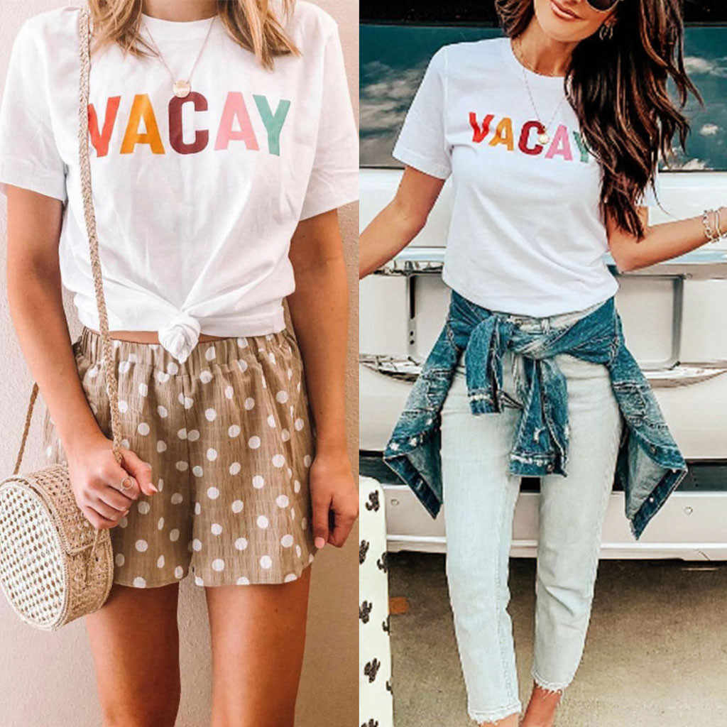 Fashion Womens Casual O-Neck Letter Printed VACAY White T-Shirt Short Sleeve Tops Summer Girl's Female Tees Shirts Shirt Camisa