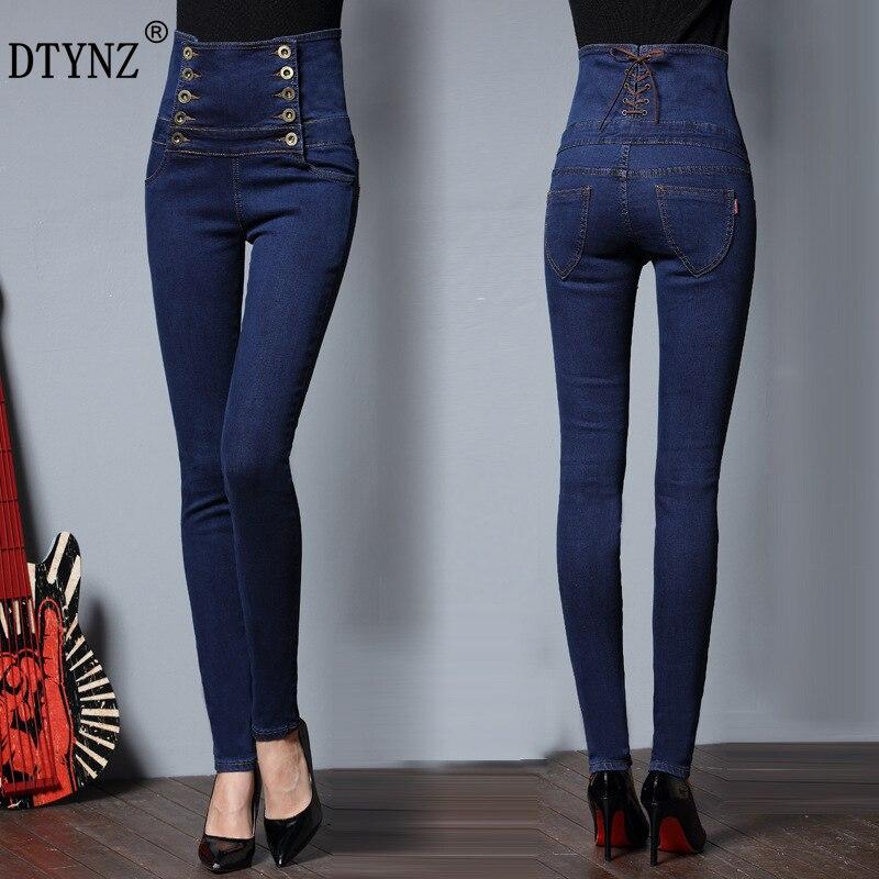 Dtynz New Double Row Button High Waist Women's Denim Trousers Jeans Micro Elastic Force Slim Waist Pencil Pants Plus-Size S-6xl