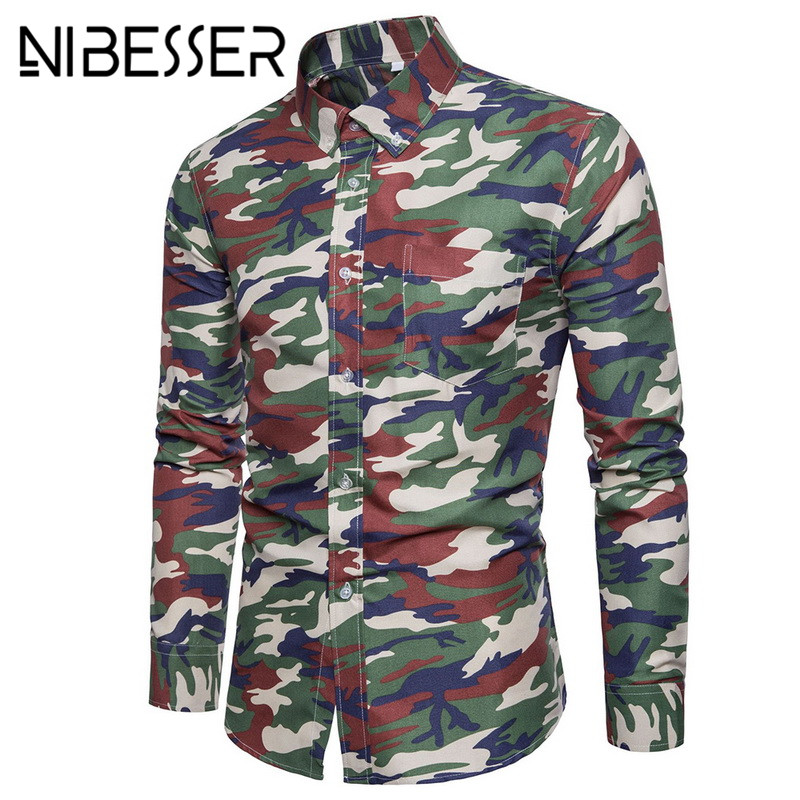 NIBESSER New Arrive Masculina Shirt Camouflage Dress Men Stand Shirt Long Sleeve Slim Fit Casual Male Camisa Men Shirts 5XL