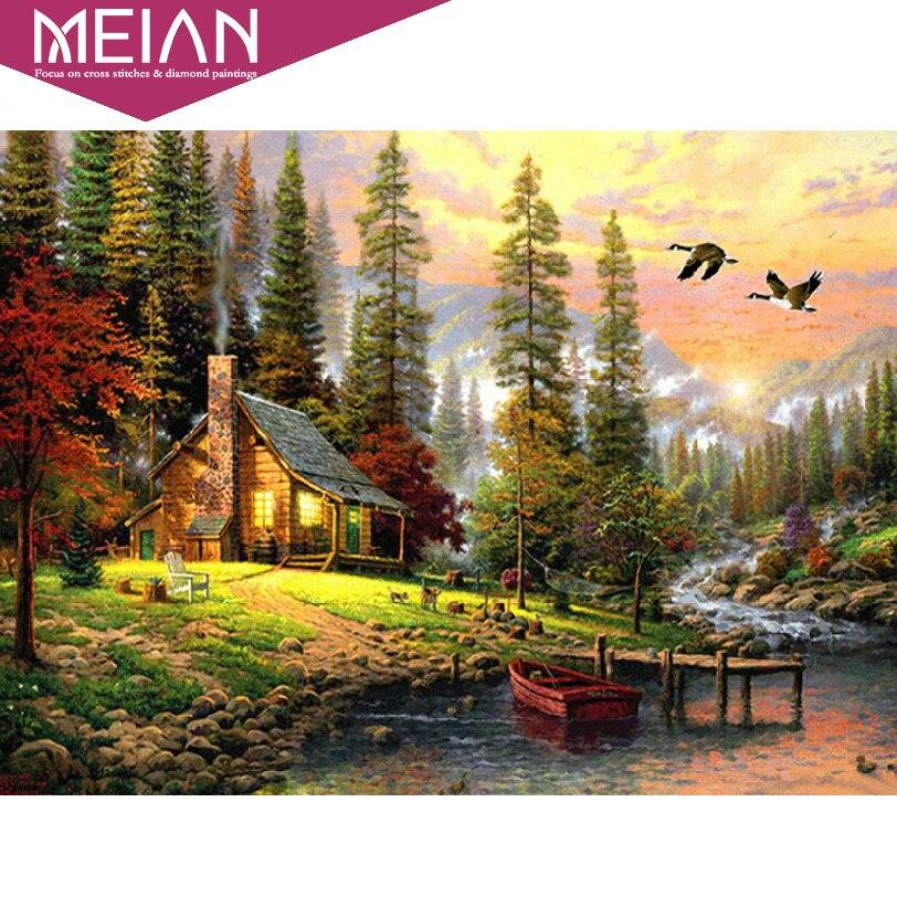 Meian 5D DIY алмазная живопись Новая мода деревенский пейзаж полный рукоделие вышивка круглые стразы декор комнаты искусство год