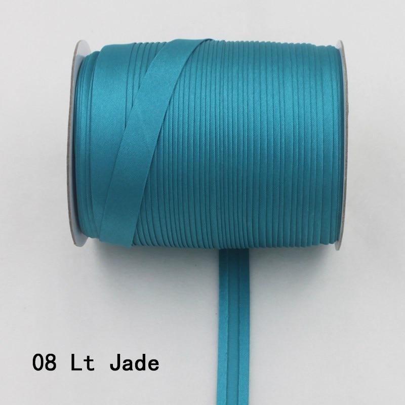 """100 ярд полиэстер 5/""""(15 мм) атласная косая лента косая Привязка сплошной цвет для пошив одежды «сделай сам» и обрезки - Цвет: 08   lt jade"""