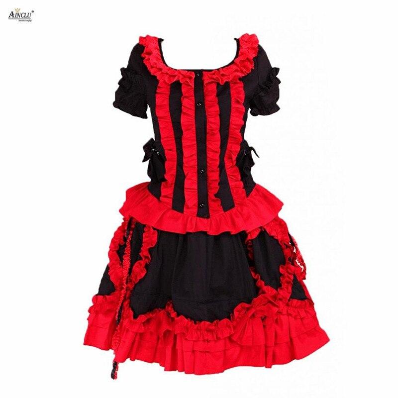 Gothique Lolita robe femmes coton noir et rouge manches courtes à volants boutons mignon filles Lolita robe/Cosplay Costumes XS-XXL
