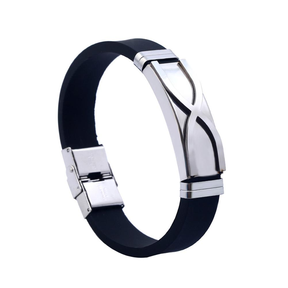 Men's Fashion Titanium Steel Bracelet Cuff Wristband Bangle Silicone Jewelry