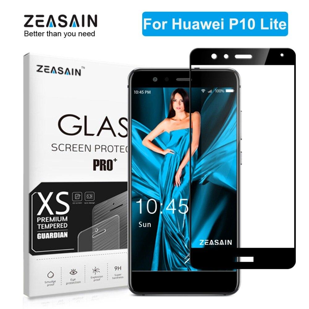 ZEASAIN 2.5D 9 H Vidro Temperado Protetor de Tela de Cobertura Completa para Huawei P10 Nova Lite Lite P10Lite Dureza do Filme de Vidro