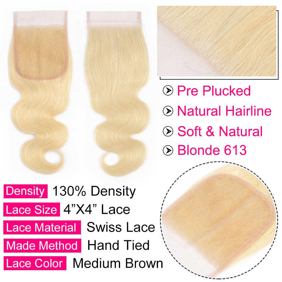 Bling hair #613 блонд бразильские объемные волнистые человеческие волосы Закрытие 4*4 средний/свободный/три части Кружева Закрытие Remy 1b/613 натуральный цвет
