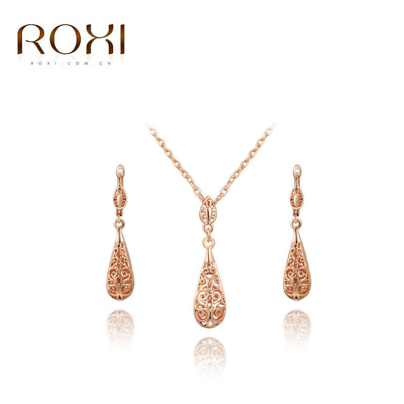 0a541d85e ROXI Happiness Water Drop Stud Earrings/Chain Crystal Necklace Rose Gold  Color Wedding Jewelry Set