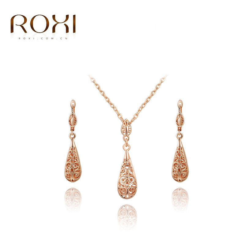887ccfece Detail Feedback Questions about ROXI Happiness Water Drop Stud Earrings/Chain  Crystal Necklace Rose Gold Color Wedding Jewelry Set Romantic Gift on ...