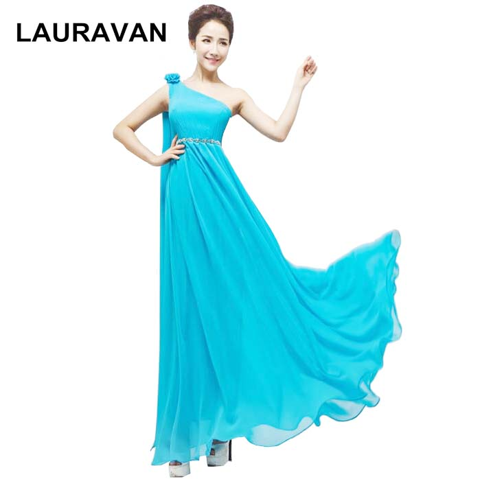 Belle longue grecque modeste formelle une épaule bleu chaud rose robes sans manches aline robes de soirée 2019 robe robe robe