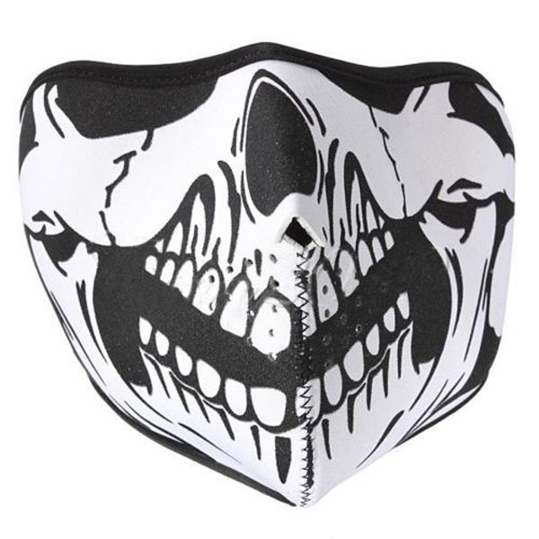 New Skull Black Reversible Neoprene Half Face Mask Ski Snow Motorcycle Sport Biker Party Masks