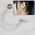 Fashion Women Men Unisex Alloy Tassels Chains Earring Cuff Ear Clip Stud Piercing Goth Punk New