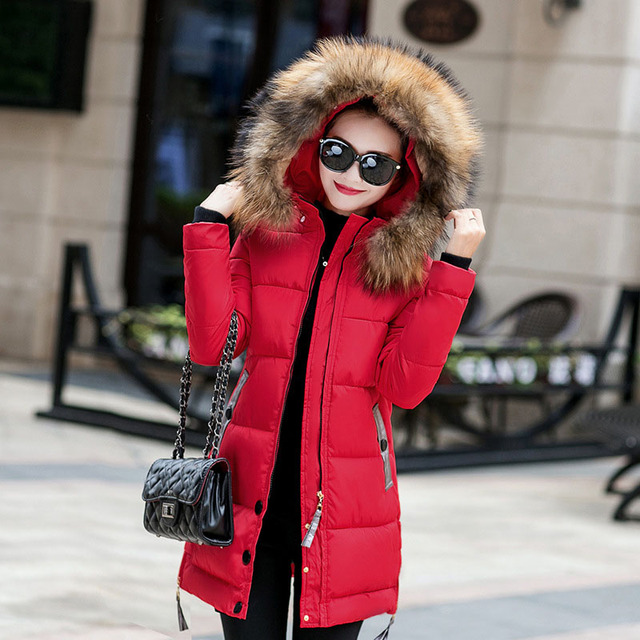 61461b7c8 US $56.4 |Women Winter Big Size Down Cotton Warm Parka Hooded Female Long  Quilted Coat Faux Fur Collar Lady Puffer Jacket Manteau Femme-in Parkas  from ...