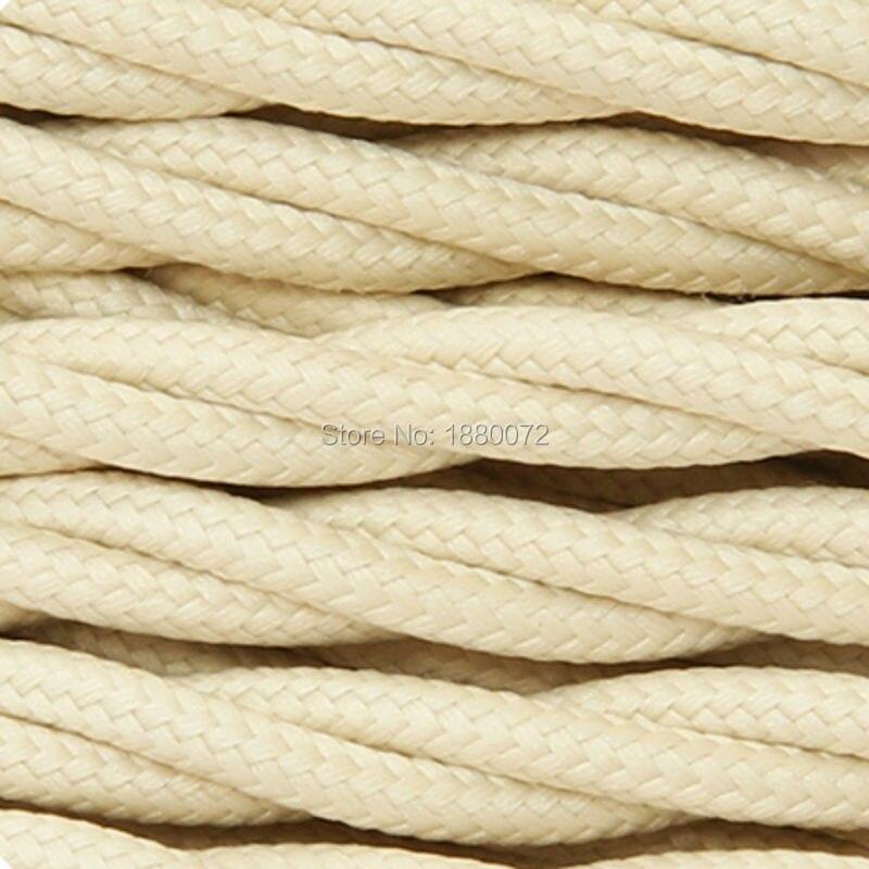 ᗐ2*0.75mm blanco marfil trenzado vendimia Telas cable antiguo ...