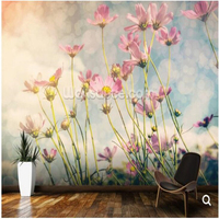 Retro Wallpaper Cosmos Flower With Vintage Tones Natural Landscape Murals For The Living Room Sofa Sofa