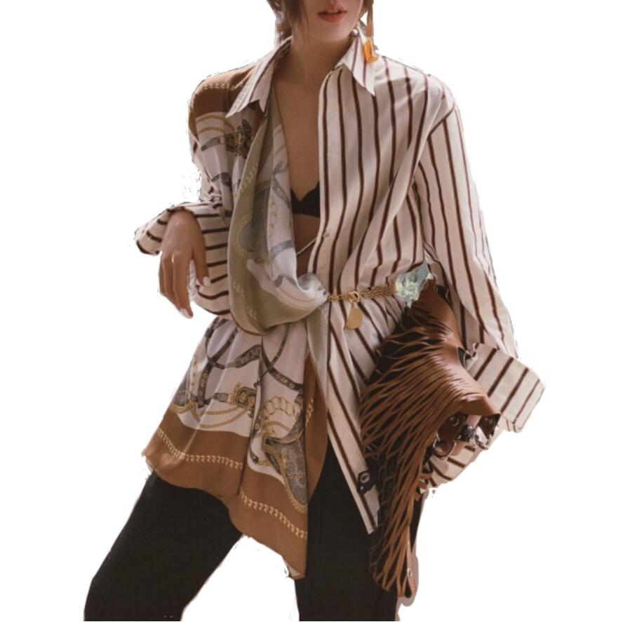 2019 New Spring Summer Lapel Long Sleeve Striped Pattern Split Joint Irregular Big Size Shirt Women Tide Bow Sashes Blouse