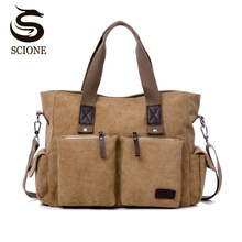 Top Canvas Leather Men Travel Bags Hot Casual Travel Totes L