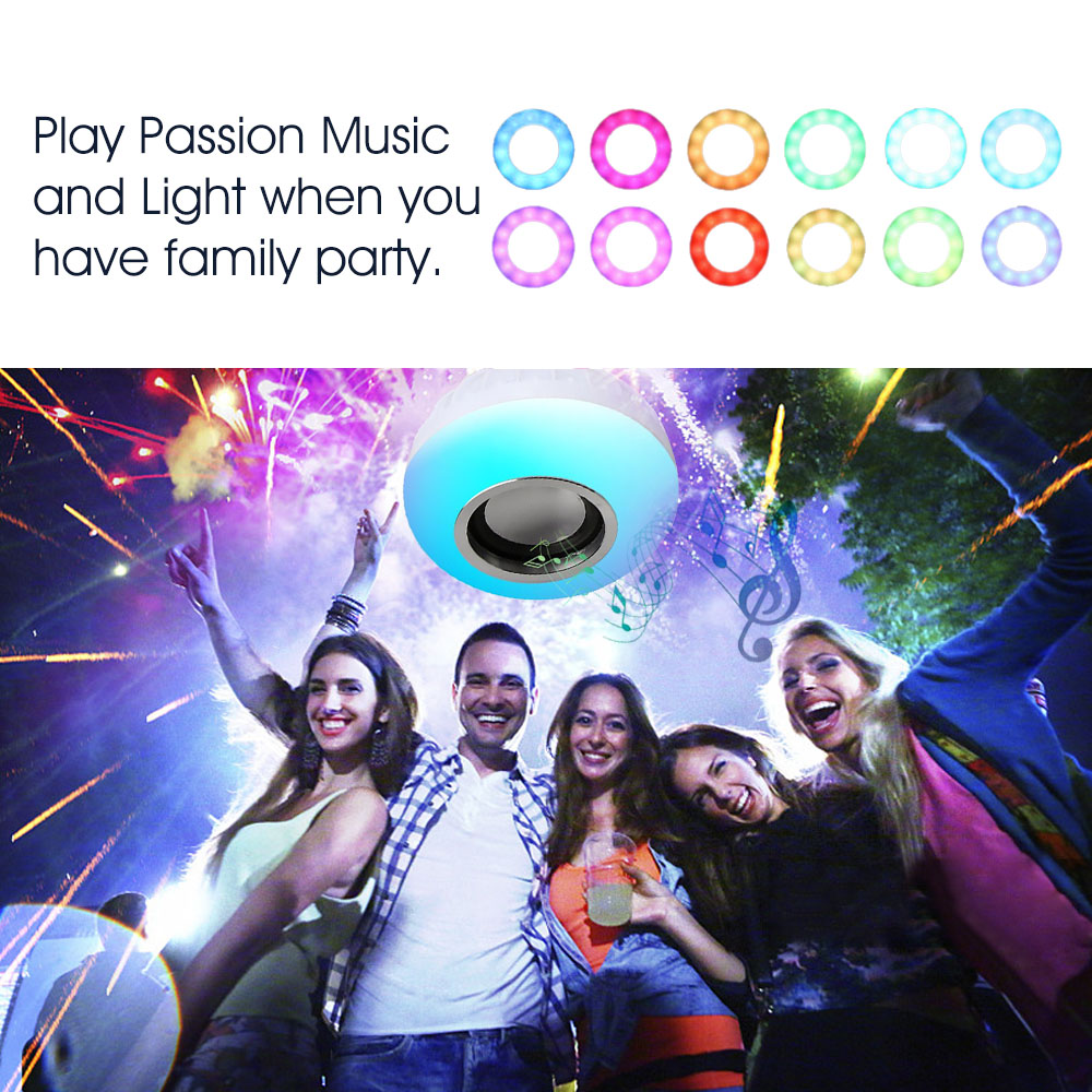 VONTAR E27 B22 Wireless Bluetooth Speaker+12W RGB Bulb LED Lamp 110V 220V Smart Led Light Music Player Audio with Remote Control 5