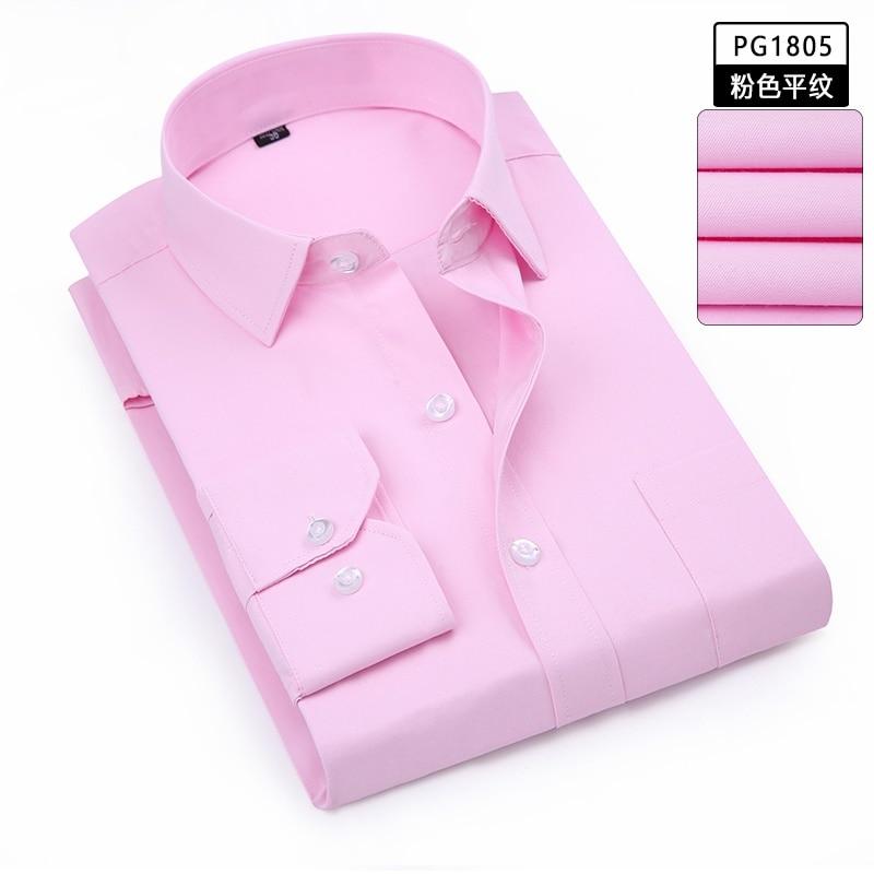 Winter Large Size 9XL 10XL Solid Business Men Shirts Autumn Office Shirt 12XL13XL 14XL Long Sleeve Formal Pink Male Dress Shirts