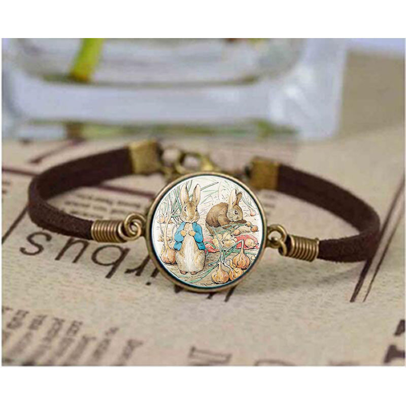 New Peter Rabit Logo bracelet Cartoon Painting Round Vintage bracelets Women Jewerly Friend Gift Bangle