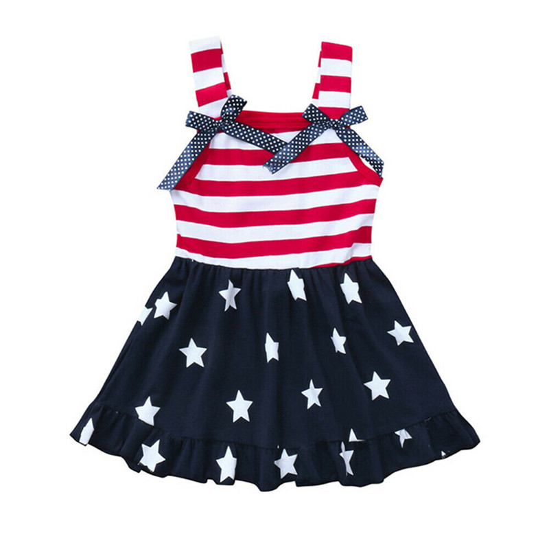 Kids Baby Girl Dress Flag Stars Striped Patchwork Swing Sundress 4th of July Clothes Sleeveless Sling Bow Girl Dress 18M-6YKids Baby Girl Dress Flag Stars Striped Patchwork Swing Sundress 4th of July Clothes Sleeveless Sling Bow Girl Dress 18M-6Y