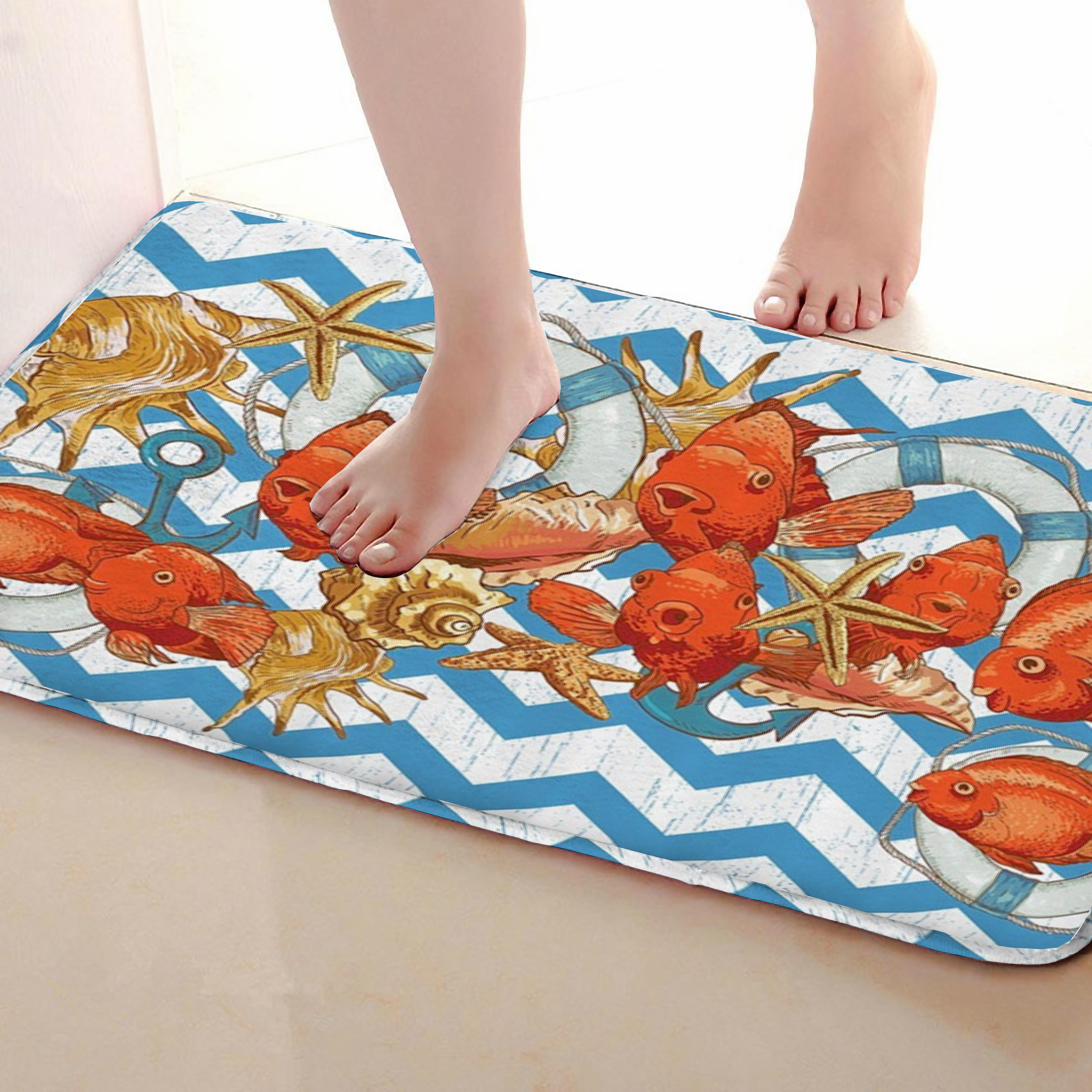 Fish Style Bathroom Mat,Funny Anti skid Bath Mat,Shower Curtains Accessories,Matching Your Shower Curtain