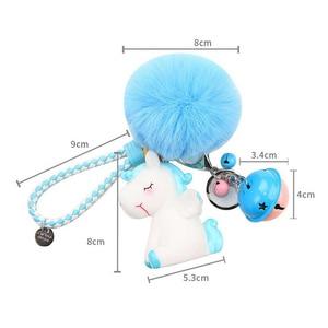 Image 4 - Unicorn karikatür sevimli anahtar toka yumuşak Hairball hayvan bebek çanta süsler kız en iyi hediyeler küçük çan benzersiz ucuz sevimli oyuncak