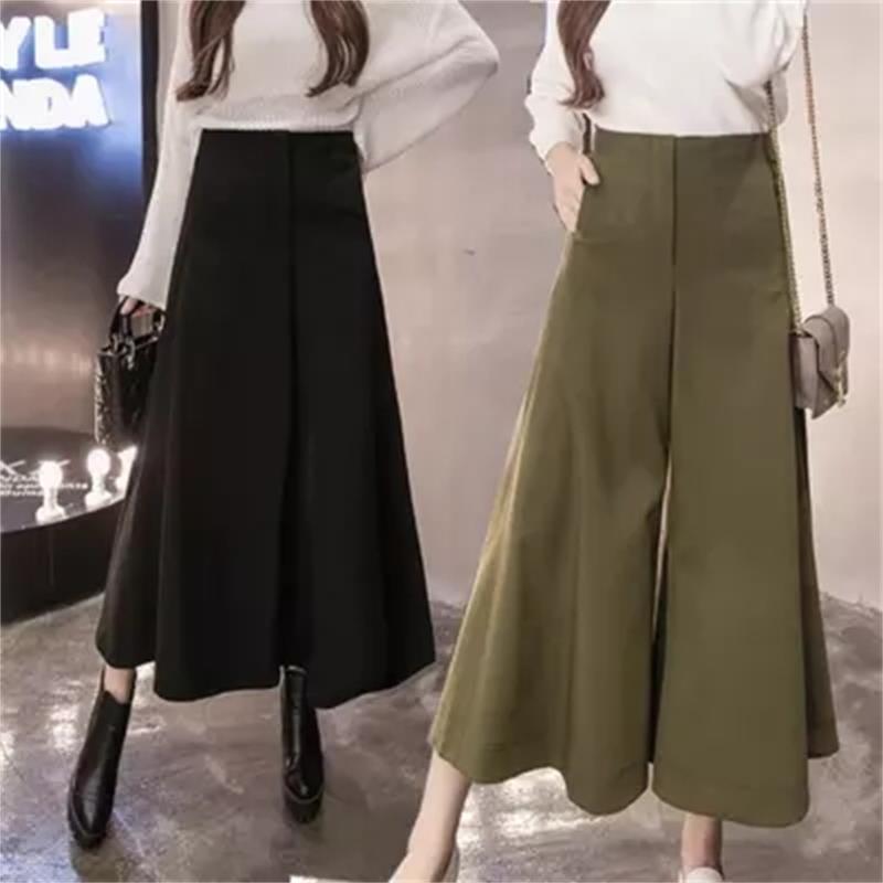 High quality winter High Waist Belted Zipper Palazzo   Pants   Ginger Frill Waist Ruffle   Wide     Leg     Pants   Women Elegant OL Style Trous