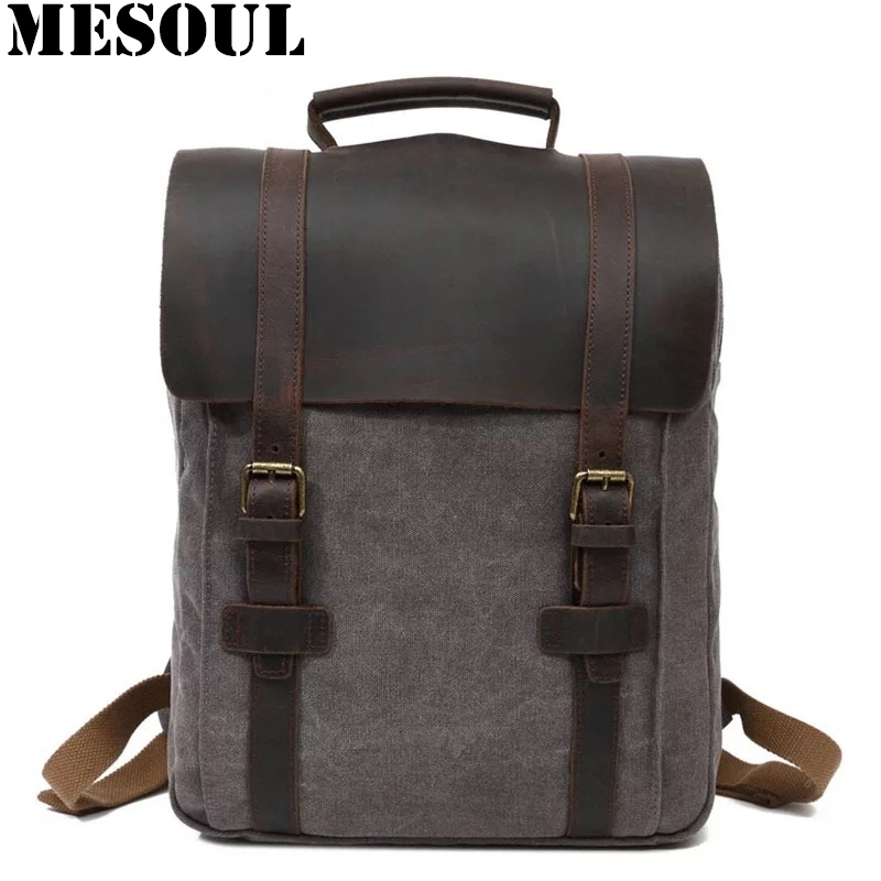 Vintage Men <font><b>Backpack</b></font> <font><b>Leather</b></font> Canvas Laptop <font><b>Backpack</b></font> School Bag Mochila Feminina Large Travel Rucksack Male Knapsack Bagpack image