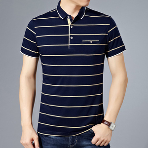Image 4 - MIACAWOR New Slim Fit  Polo shirts Men Cotton Fashion Striped Men  Summer Short sleeve Tee shirt Homme Casual Camisa  T718