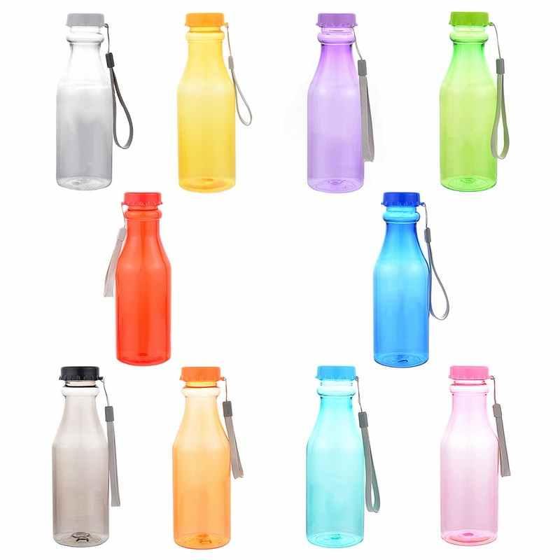 Botellas deportivas de plástico de 550 ml para Yoga a prueba de fugas de agua los niños