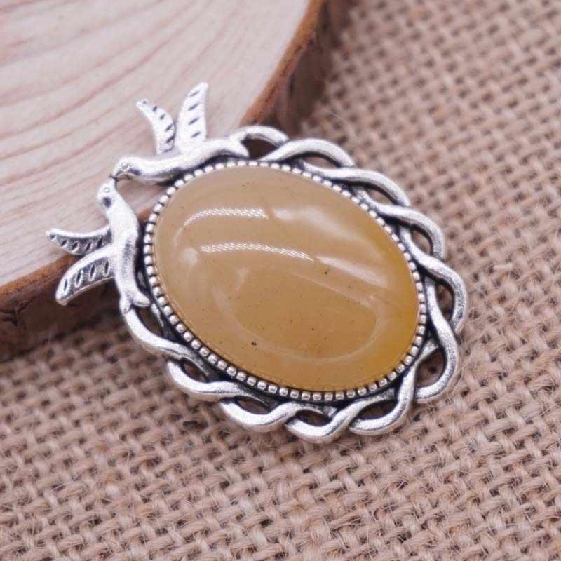 Wholsale Natural Stone Pendant Oval Shape Cabochon Stone/Opal/Tiger Eye Sone 40*26mm Free shipping