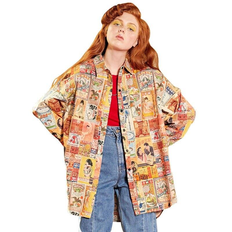 UNIFREE 2019 nouveau automne femmes chemises marron top tendance personnalité impression revers à manches longues lâche chemise haut pour femme U192D111HY - 2