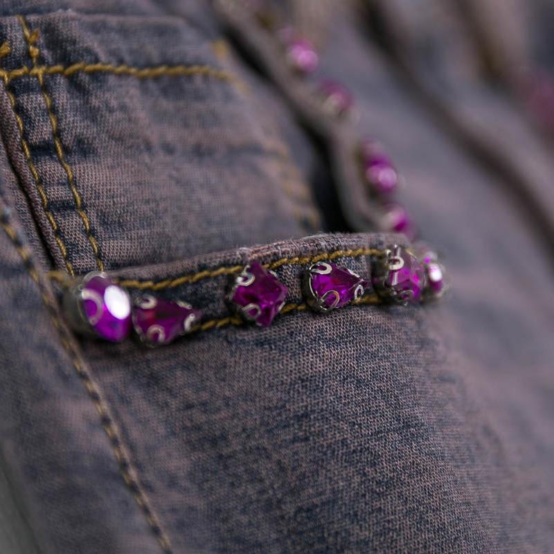 Con De Diamantes La Lentejuelas Pierna Bordado Imitación Mujeres Primavera Los Otoño Suelto Alta Mujer Pantalones Cintura Flor Denim Casuales Para Vaqueros OxAgq0gwPI
