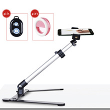 写真撮影調節可能なテーブルトップミニ一脚撮影セットアルミ合金スタンド + 電話クリップフィルイン光bluetooth制御
