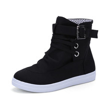 Black Women Shoes Sneakers Canvas Spring New High Help Lace Up Womens Woman Trainers Zapatos De Mujer